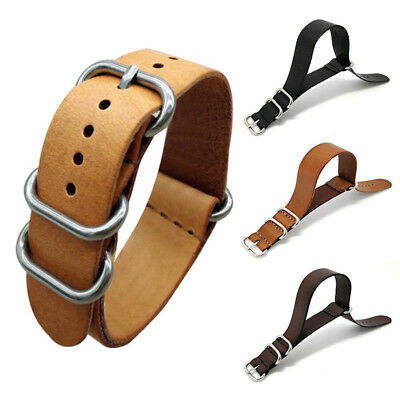 3 Colors Mens Genuine Leather Watch Band Strap Army Military Buckle 18 20 22 mm
