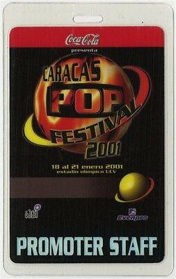 Caracas Pop Festival 2001 Laminated Backstage Pass Sting Sheryl Crow Mana Oasis