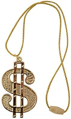 DOLLAR CHAIN NECKLACE Medallion Gangster Rapper Fancy Dress Costume Accessory