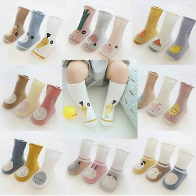 3 Pairs Toddler Kid Baby Girl Knee High Long Socks Cotton Casual Stockings 0-5 Y