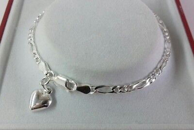 Sterling Silver Solid Link Ladies Figaro & Heart Charm Bracelet. 7.5 inch. 3.7g.
