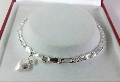 Sterling Silver Solid Link Ladies Figaro Bracelet& Heart Charm. 7.5 inch. 5.4g.