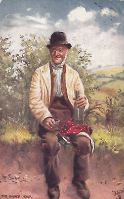 "Man with a bottle , ""The Dinner Hour"" , Country Life , 1906 ; TUCK 9180"