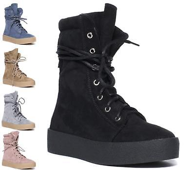 Ladies Flat Wedges Trainers Hi Top Lace Up Sneakers Fashion Shoes Size 3-8 Uk