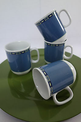 4 Mitterteich Bavaria Henkelbecher - Humpen - blau - DISHWASHER SAFE