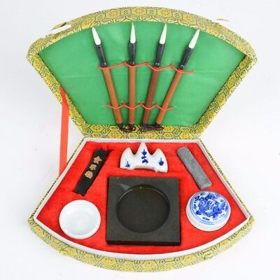 Chinese Calligraphy Set with Writing Pen Brushes Ink Stones Box Painting Tools