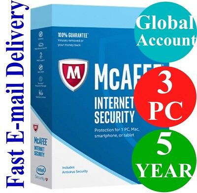 McAfee Internet Security 3 PC / 5 YEAR (Account Subscription) 2019