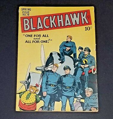 Blackhawk #18 (Quality Comics 1948) FNFN+ Chop Chop One For All and All For One!