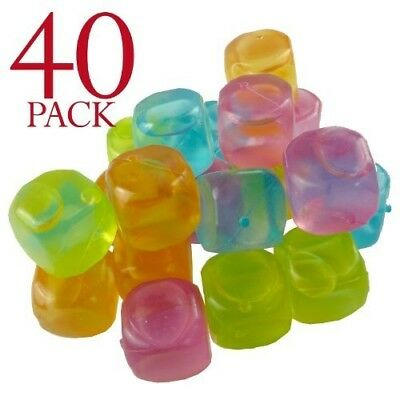 Multi-coloured Reusable Ice Cubes For Cooling Your Drinks (Pack of 40)