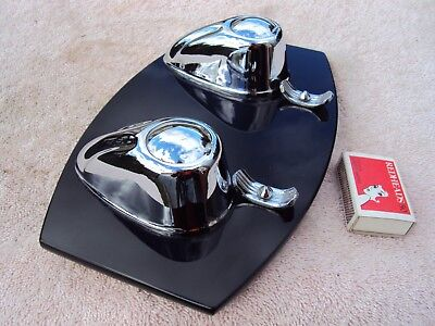Art Deco Ink Well And Pen Rest Desk Set Black Glass & Chrome With Inserts Rare