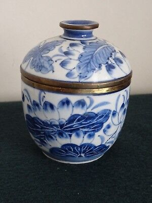 Small Chinese Blue & White  Hand Painted Brass Banded Ceramic Lidded Pot