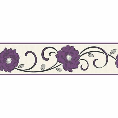 Flower Wallpaper Border Floral Textured Vinyl Florentina Fine Decor Purple