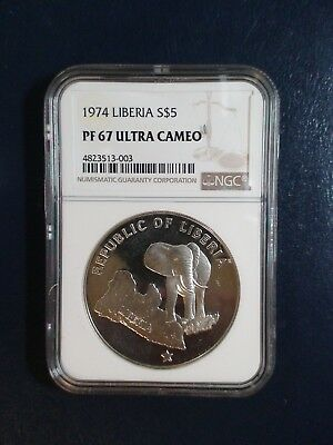 1974 Liberia Five Dollars NGC PF67 UCAM SILVER 5D Coin PRICED TO SELL NOW!