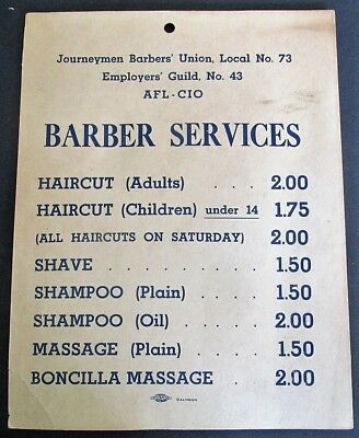Journeymen Barbers' Union AFL-CIO Shop Price SIGN For BARBER SERVICES