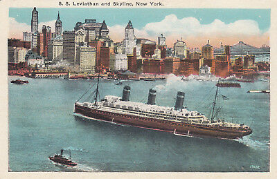 "NEW YORK CITY , 10-30s ; Ocean Liner ""LEVIATHAN"" & Skyline"