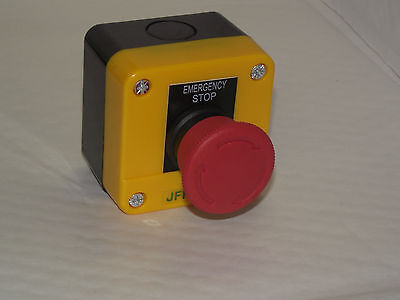 Emergency stop button / stop switch , twist to release,  1 N/C contact UK Based