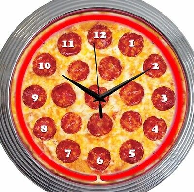 Pizza Neon Clock 15 Inch Diameter Cheese & Pepperoni Game Room Restaurant