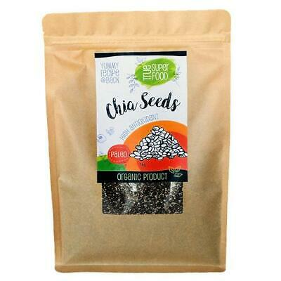 AOP Organic Chia Seeds 1kg Chia Seed Raw Rich in Fibre and Antioxidants
