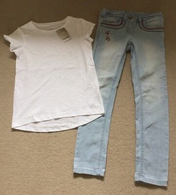 BNWT Next Girls Outfit, Embroidered Jeans And White T-shirt, Age 8