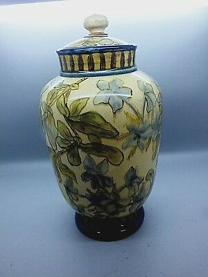 Doulton Faience A/Nouveau Lidded Vase by Matilda Adams, Signed & Dated 1875