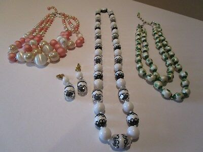 Lot of Vintage Costume Jewelry Bangle Bead Necklaces Matching Earrings - NICE!