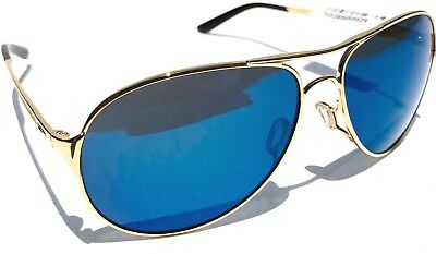 NEW* Oakley CAVEAT Gold 60mm Aviator Blue Ice Iridilum Women's Sunglass 4054-16