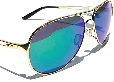 NEW* Oakley CAVEAT Gold 60mm Aviator Green Jade Iridilum Womens Sunglass 4054-15