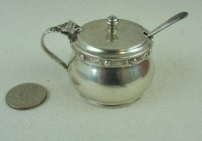 Antique Garrard & Co London Sterling Silver Salt Cellar & Spoon & Cobalt Insert