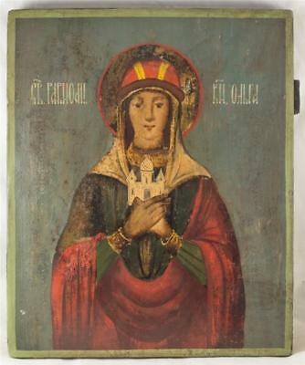 VERY RARE 19c RUSSIAN BIG OLD ANTIQUE ICON SAINT OLGA