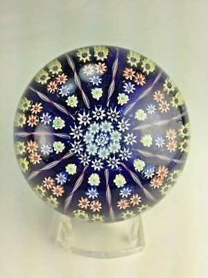 SUPERB PERTHSHIRE BLUE Glass Spiral Millefiori 12 Spoke Cartwheel PAPERWEIGHT