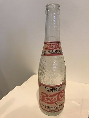 100th Anniversary Swirl Design PEPSI-COLA Bottle w/ Paper Label - Menands, NY