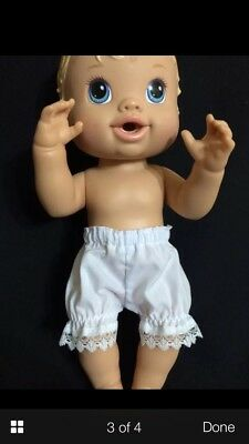 Dolls clothes. White Panties size Med made to fit 32cm  Baby Alive dolls Size Sm