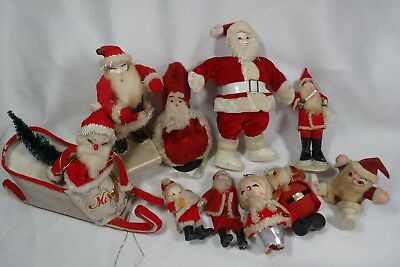 VINTAGE SANTA CLAUS Doll Figure Lot Candy Container Paper Composite Spun Cotton