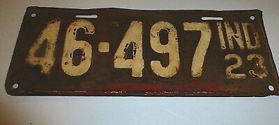 1923 State of Indiana Vintage Rare License Plate 46-497ind