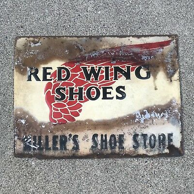Vintage 40's 50's Red Wing Shoes Embossed Metal Sign Miller's Boots 877 Heritage