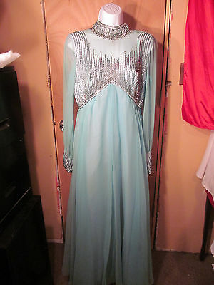 Vintage Ladies Blue Beaded Gown Or Use For Halloween