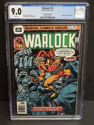 MARVEL WARLOCK #13 1976 CGC 9.0 WHITE PAGES 30 CENT PRICE VARIANT 1st STAR-THIEF