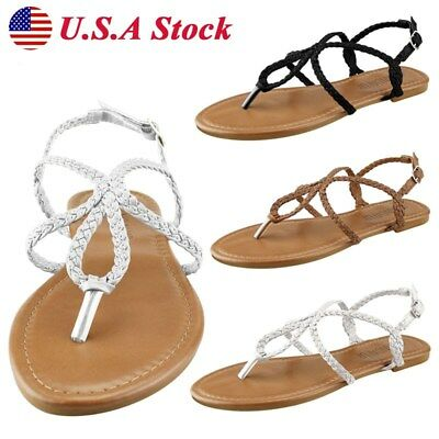 28e03ce9970c36 Women Lady Gladiator Braided Strap Flip Flops Sandals Slippers Thong Flat  Shoes