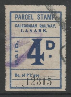 SCOTLAND CALEDONIAN RAILWAY 4d BLUE PARCEL STAMP USED LANARK 1922