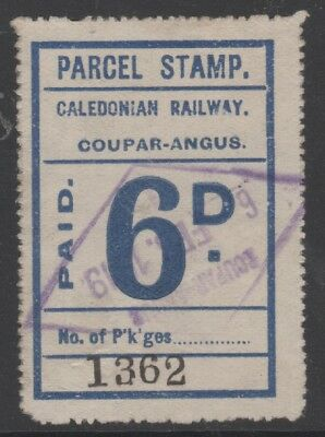 SCOTLAND CALEDONIAN RAILWAY 6d BLUE PARCEL STAMP USED COUPAR ANGUS 1919