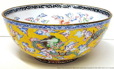 Fine Antique Chinese Qing Dragon Seal Mark Canton Bronze Enamel Export Bowl 6in