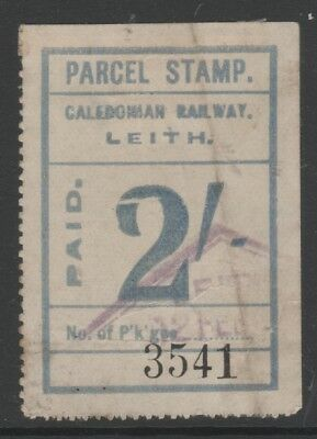 Scotland Caledonian Railway 2/- Blue Parcel Stamp Used Leith