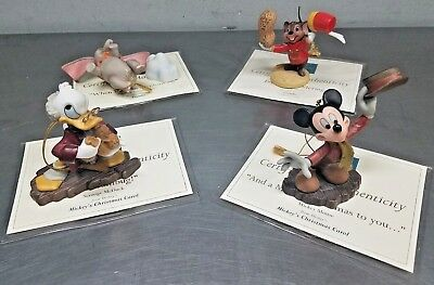 LOT of 4 DISNEY Christmas Ornaments Dumbo Mickey Scrooge McDuck w/ Cert & Boxes