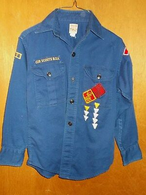 Vintage Cub Scout BSA Uniform Shirt Long Sleeve Sanforized Blue Youth Boys OHIO