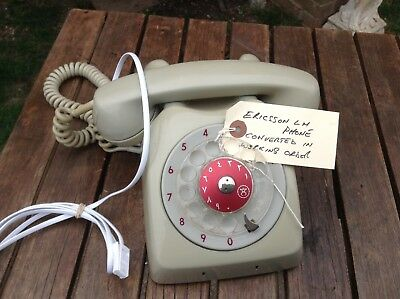 Vintage Ericsson Rotary Dial Red Telephone converted to new BT plug