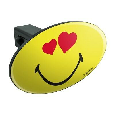Smiley Heart Eyes Love Romantic Face Oval Tow Trailer Hitch Cover Plug Insert