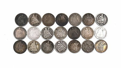21 - 1840-1890 Seated Liberty Dime Pieces 90% Silver Us Collectible Coin Lot G-F