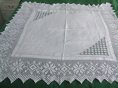 vintage tablecloth with embroidery and crochet lace