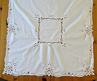 """Pretty Vintage Tape Lace White Cotton Tablecloth 34"""" Square Embroidered Cutwork"""