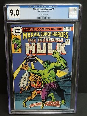 Marvel Super-Heroes #57 1976 Cgc 9.0 White Pages 30 Cent Price Variant Hulk